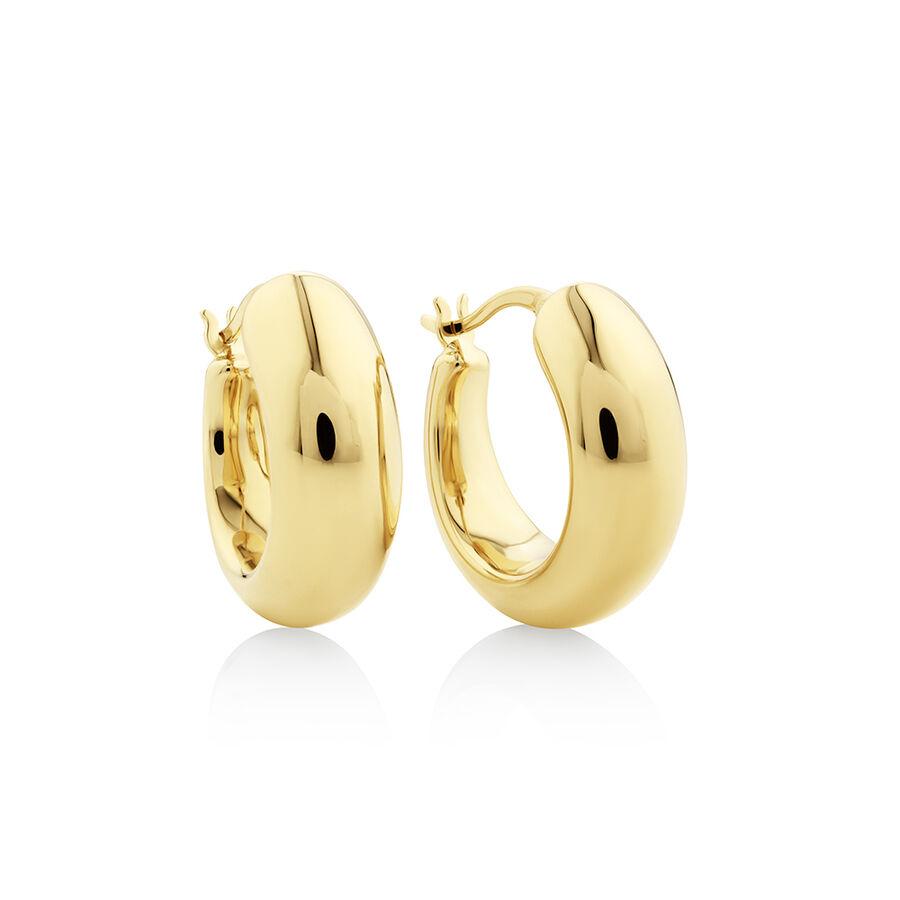 15mm Round Hoop Earrings in 10kt Yellow Gold