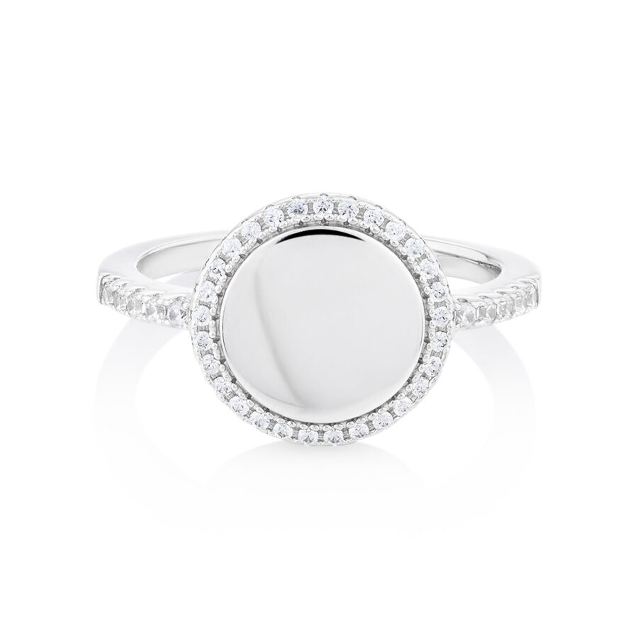 Round Ring with Cubic Zirconia in Sterling Silver