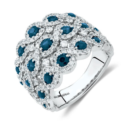 Ring with Sapphire & 1 1/4 Carat TW of Diamonds in 14kt White Gold