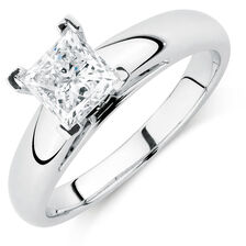 Certified Solitaire Engagement Ring with a 0.95 Carat Diamond in 14kt White Gold