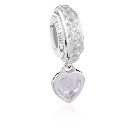 Sterling Silver April Heart Charm
