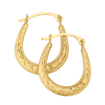 Patterned Hoops in 10kt Yellow Gold