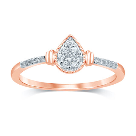 Cluster Ring with 0.12 Carat TW of Diamonds in 10kt Rose Gold