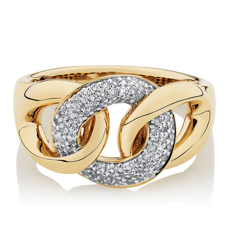 Link Ring with 1/4 Carat TW of Diamonds in 10kt Yellow Gold