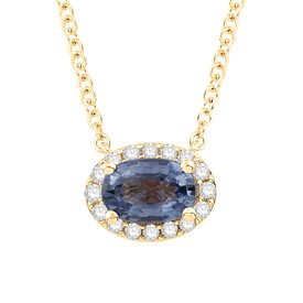 Necklace with Sapphire and Diamond in 10kt Yellow Gold