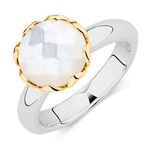 Mother Of Pearl, Sterling Silver & 10ct Yellow Gold Stacker Ring