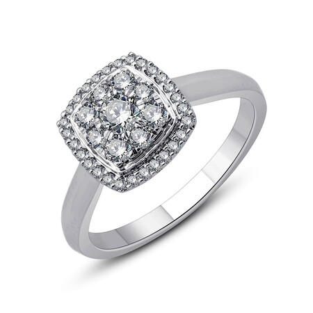 Cluster Ring with 0.54 Carat TW of Diamonds in 10kt White Gold