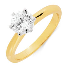 Solitaire Engagement Ring with 1 Carat TW of Diamonds in 18kt Yellow and White Gold