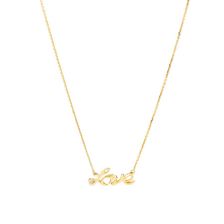 Love Necklace with Diamonds in 10kt Yellow Gold
