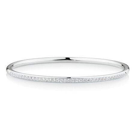Bangle With Cubic Zirconia In Sterling Silver