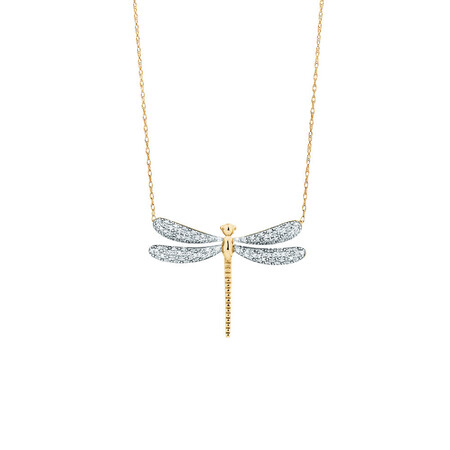 Dragonfly pendant with 0.20 Carat TW Diamonds in 10kt Yellow Gold