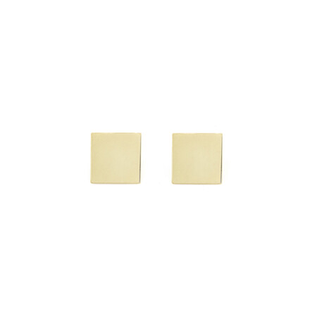 Square Disc Stud Earrings in 10kt Yellow Gold