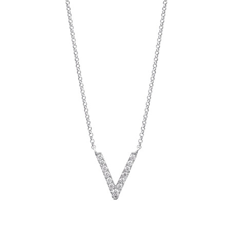 """""""V"""" Initial necklace with 0.10 Carat TW of Diamonds in 10kt White Gold"""