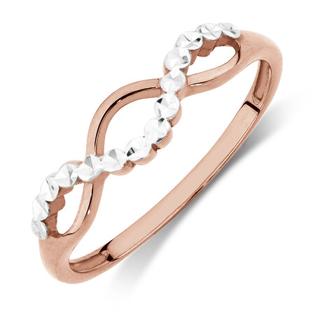 Crossover Ring in 10kt Rose & White Gold