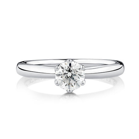 Whitefire Solitaire Engagement Ring with a 0.7 Carat TW Diamond in 18kt White & 22kt Yellow Gold
