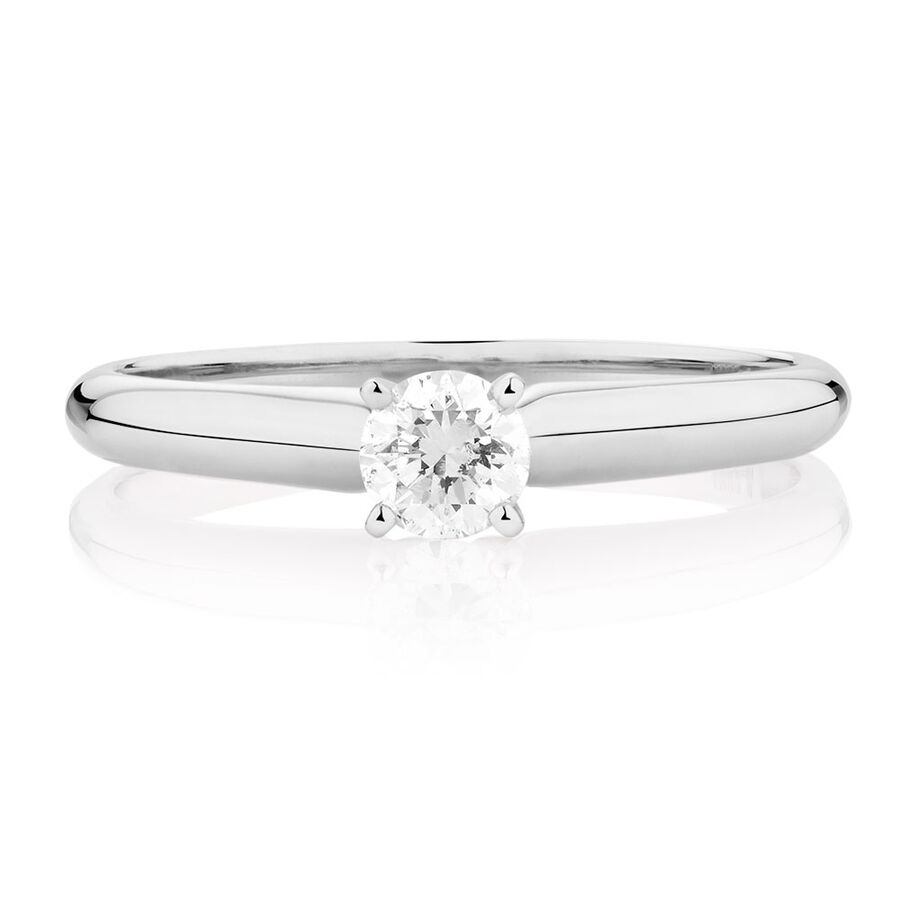 Evermore Solitaire Engagement Ring with 1/3 Carat TW Diamond in 14kt White Gold