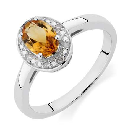 Halo Ring with Citrine & Diamonds in Sterling Silver