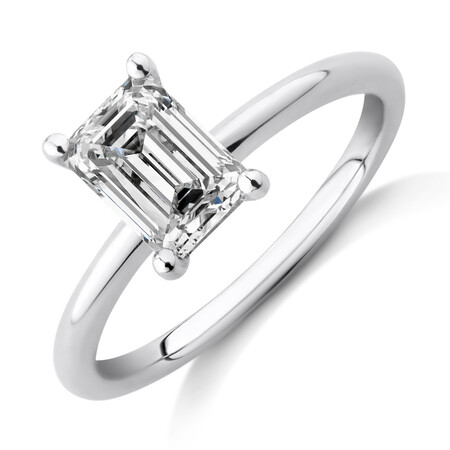 Laboratory-Created 1.25 Carat Emerald Cut Diamond Ring In 14kt White Gold