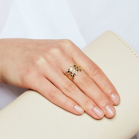 Olive Leaf Ring in 10kt Yellow Gold