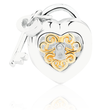 Heart Locket & Key Charm in Sterling Silver & 10kt Yellow Gold