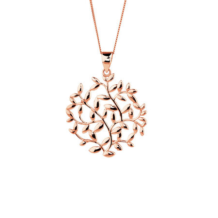 Olive Leaf Circle Pendant in 10kt Rose Gold