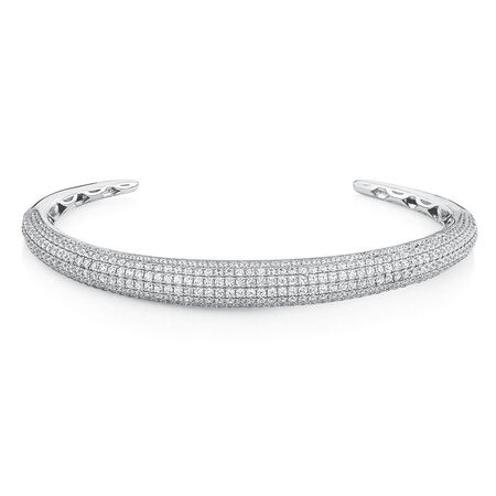 Cuff Bangle with Luxe Cubic Zirconia in Sterling Silver
