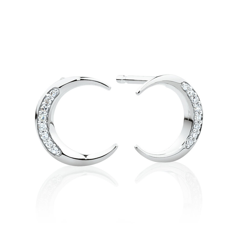 Crescent Stud Earrings with Diamonds in Sterling Silver