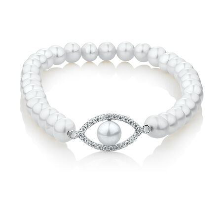 Eye Bracelet with Cubic Zirconia & Cultured Freshwater Pearls in Sterling Silver