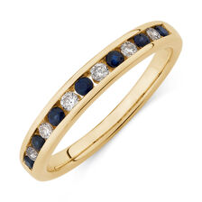 Ring with Natural Sapphire & 0.15 Carat TW of Diamonds in 10kt Yellow Gold