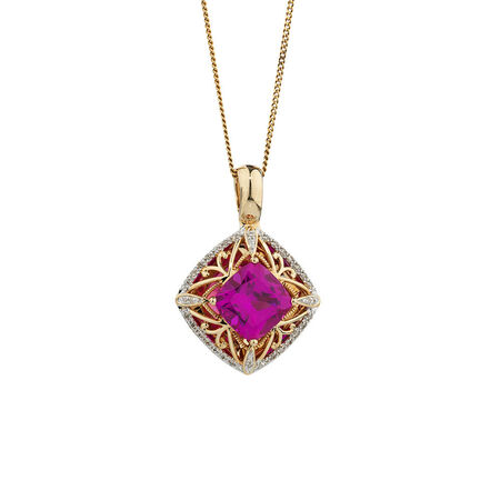 Online Exclusive - Enhancer Pendant with 0.15 Carat TW of Diamonds & Created Pink Sapphire in 10kt Yellow Gold