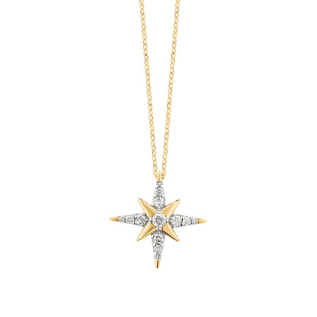 Star Pendant With 1/7 Carat TW Of Diamonds In 10kt Yellow Gold