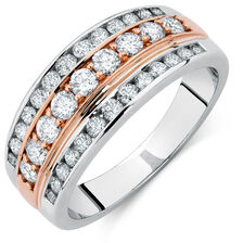 Ring with 0.80 Carat of Diamonds in 10kt White & Rose Gold