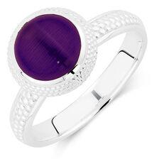 Violet Cats Eye Stack Ring