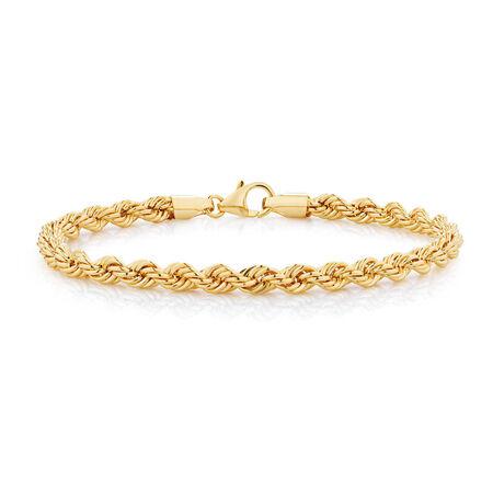 "19cm (7.5"") Rope Bracelet in 10kt Yellow Gold"