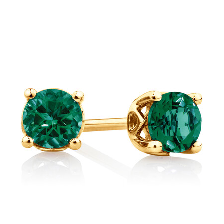4mm Stud Earrings with Created Emerald in 10kt Yellow Gold
