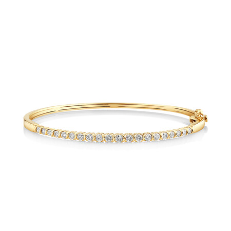 Oval Bangle with 1 Carat of TW Diamonds in 10kt Yellow Gold