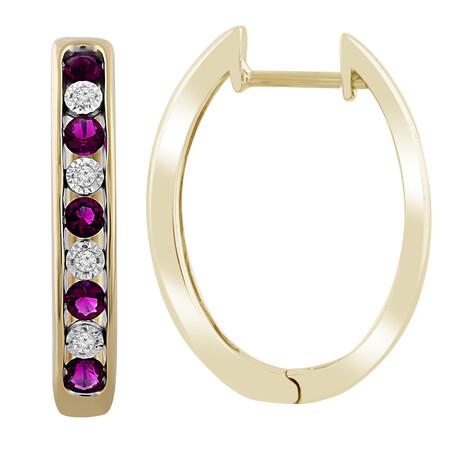 Huggie Earrings with Amethyst & Diamond in 10kt Yellow Gold