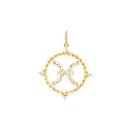 Pisces Zodiac Pendant with 0.15 Carat TW of Diamonds in 10kt Yellow Gold