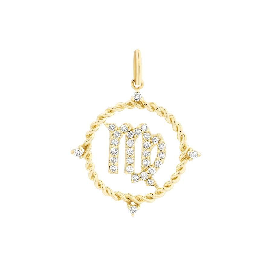 Virgo Zodiac Pendant with 0.20 Carat TW of Diamonds in 10kt Yellow Gold
