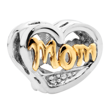 Diamond Set, 10kt Yellow Gold & Sterling Silver Mom Charm