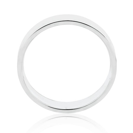Flat Wedding Band in 10kt White Gold