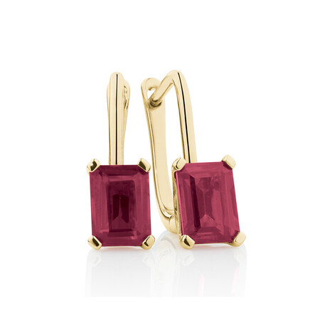 Emerald Cut Drop Earrings with Created Ruby in 10kt Yellow Gold