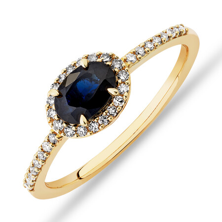 Halo Ring with Sapphire & 0.15 Carat TW of Diamonds in 10kt Yellow Gold
