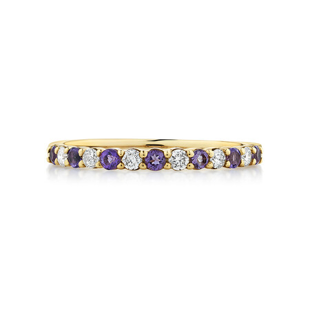 Stacker Ring with Amethyst & 0.15 Carat TW of Diamonds in 10kt Yellow Gold