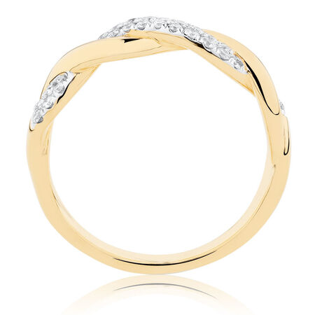 Twist Ring with 1/5 Carat TW of Diamonds in 10kt Yellow Gold