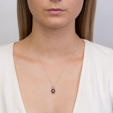 Online Exclusive - Pendant with Created Ruby & 0.15 Carat TW Diamonds in 10kt White Gold
