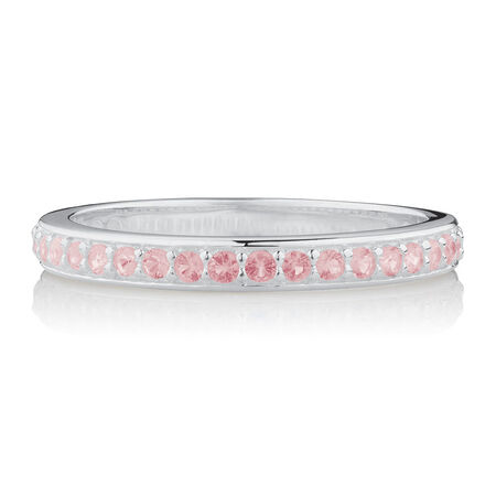 Opaque Pink Crystal Stack Ring