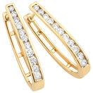 Hoop Earrings with 1 Carat TW of Diamonds in 10kt Yellow Gold