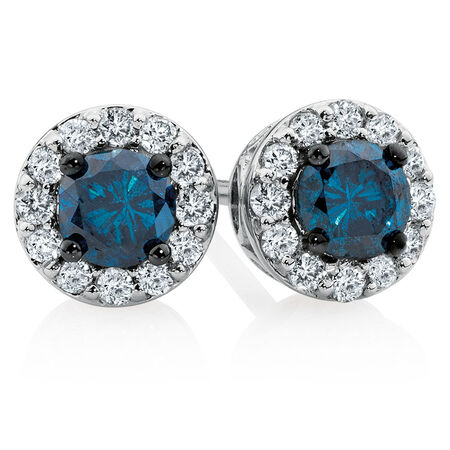 City Lights Stud Earrings with 1/2 Carat TW of White & Enhanced Blue Diamonds in 10kt White Gold