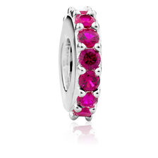 Red Cubic Zirconia & Sterling Silver Spacer